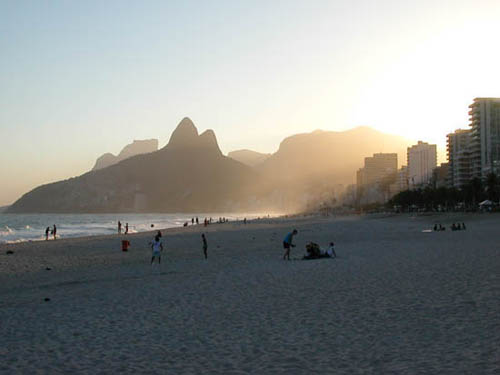Sunset on Ipanema Beach.