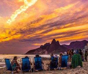 sunset in Rio at beach of Ipanema