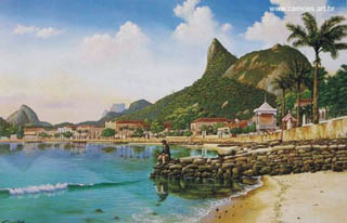 An interpretation of whatBotafogo would have looked like around 1890. Painting by Eduardo Camões.