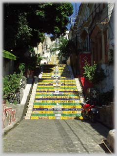 Selaron's  famous stairs in Lapa