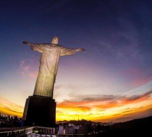 Christ Statue sunset in Rio de Janeiro